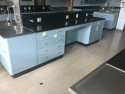 50' of Blue Metal Laboratory Casework with Epoxy Resin Counter Tops