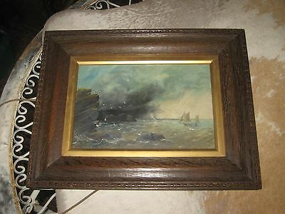 Antique Nautical Seascape Oil Painting On Board - Cliffs Seagulls Chopping Waves