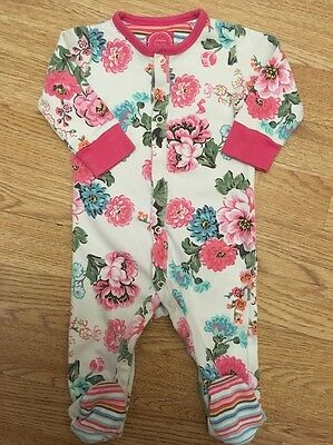 Joules Baby Girls Floral Sleepsuit/ Babygrow 3-6 Months