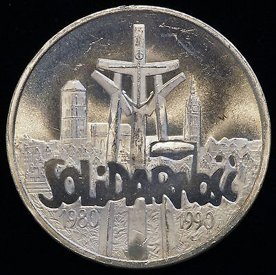 1990 Poland 100,000 Zlotych Silver Coin 10th Anniversary of Solidarity (LV#604)