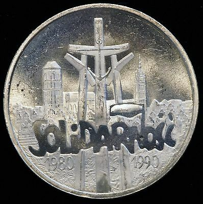 1990 Poland 100,000 Zlotych Silver Coin 10th Anniversary of Solidarity (LV#605)