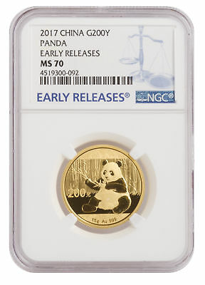 2017 15g Gold Chinese Panda .999 MS70 NCG Early Release