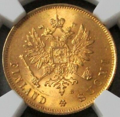 1881 S Gold Finland / Imperial Russia 10 Markkaa Ngc Mint State 65