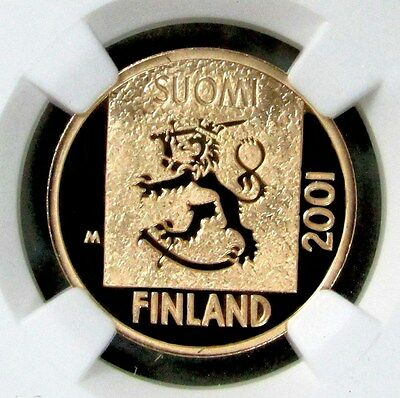 2001 Pm Gold Finland Markkaa Coin Ngc Proof 69 Ultra Cameo