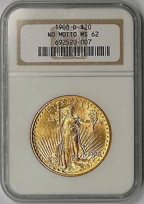1908-D No Motto Saint-Gaudens Gold Double Eagle $20 MS 62 NGC Old Holder