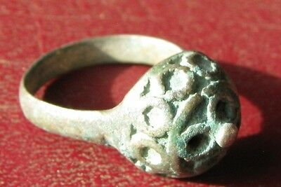 AUTHENTIC ANCIENT SILVER ISLAMIC CRUSADER RING 6 3/4 US 17mm 8679