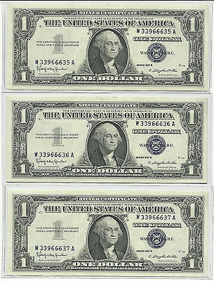 Series 1957-B US $1 Silver Certificate 3- Consecutive Uncirculated Gem Notes