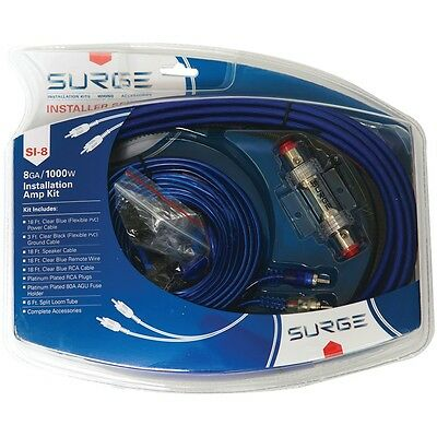 NEW Surge Installer Series Amp Installation Kit (8 Gauge, 1,000 Watts) Si-8