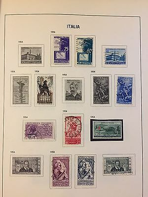 1954 Italy Italia used & mint hinged selection of stamps on Davo album page