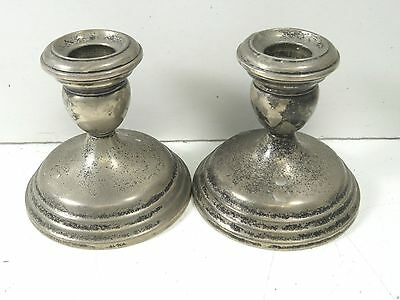 """Pair Weighted Sterling Silver WALLACE 4"""" Taper Candlestick Holders 783g #1"""