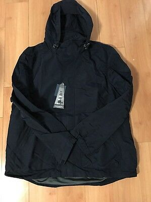 New LANDS' END Men's Lighthouse Outrigger Hooded Rain Jacket Coat Classic Navy L