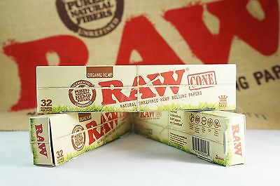 3x Packs AUTHENTIC Raw Rolling Paper Pre-Rolled Organic Cones King Size 96 Cones