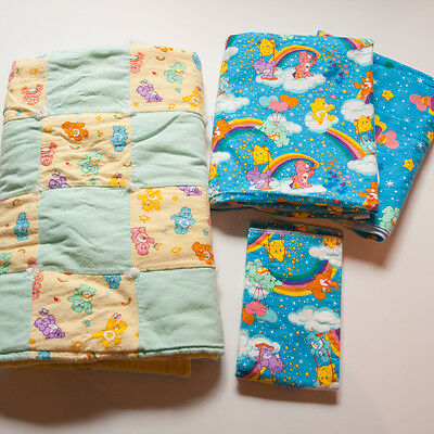 Lot 3 Care Bears Crib Baby Blankets Flannel Handmade + Diaper