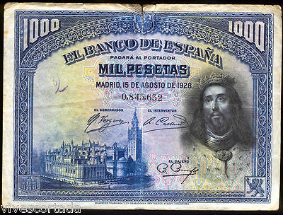 Spain 1000 Pesetas 1928 Fernando III @ Used @