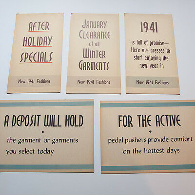 Lot 5 Vintage 1940s Clothing Store Fashion Sale Signs Cardstock