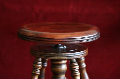 Refinished hardwood piano stool with glass ball and claw feet S-61WH