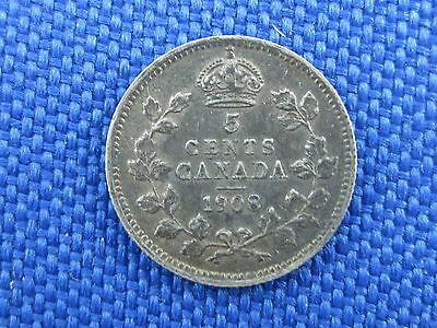 1908 Canada King Edward Vii Silver 5 Cent Coin Large 8