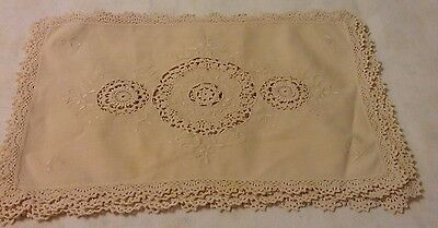 "Vintage LOT 6 Table Placemats Doily Beige Ecru 20"" X 12"" Embroidery Crochet Lace"