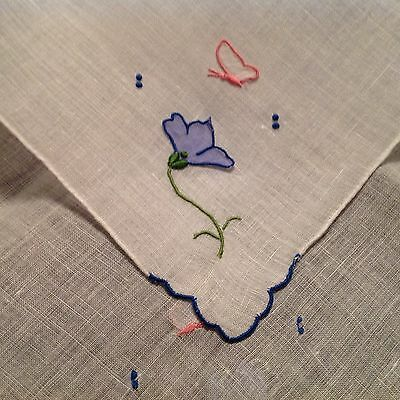#1122 Nice Vintage Embroider Handkerchief Hanky 3D Butterfly Blue Flowers