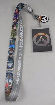 New Overwatch Lanyard ID Badge Card Pin Holder Keychain W/ Rubber Logo Charm