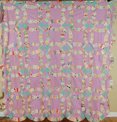 XL BEAUTIFUL Vintage Double Wedding Ring Antique Quilt Top ~NOVELTY PRINTS!