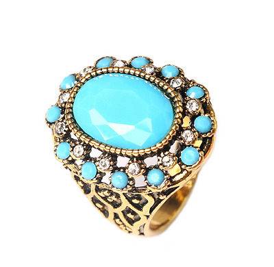 Fashion Men's Woman Gold plated Inlaid Blue Stone Crystal Female Ring Size 9