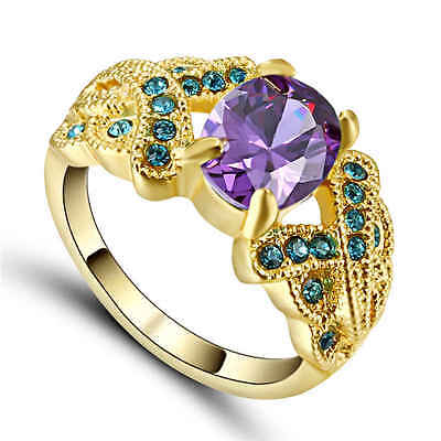 Fashion Purple Crystal Ring Size 9 Womens 18K yellow Gold Filled Engagement