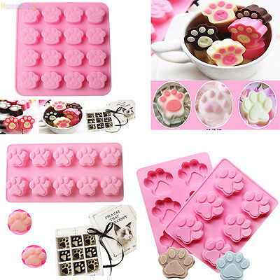 Cat Dog Paw Print Silicone Cookie Candy Chocolate Ice Cube Cake Baking Mold Tool