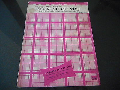 Vintage Sheet Music * Because Of You By Hammerstein & Wilkinson 1940