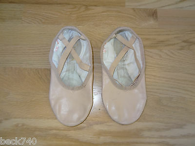 Preowned Women's Sansha Leather Split Sole Ballet Slippers Shoes Pink 6W Wide