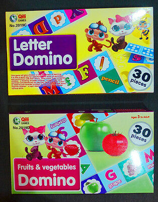 Letter Domino Card Game Kids Children Learning Education Story Book Toy Play Set