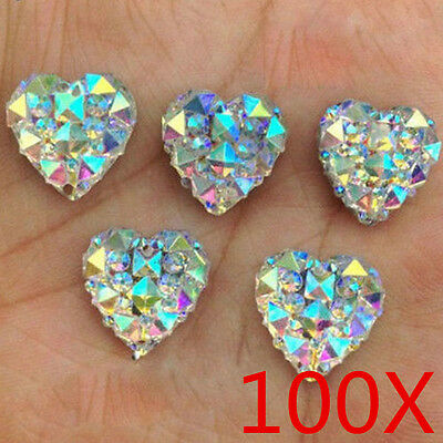 100Pcs Charms Silver Heart Shape Faced Flat Back Resin Beads DIY 10mm Wholesale