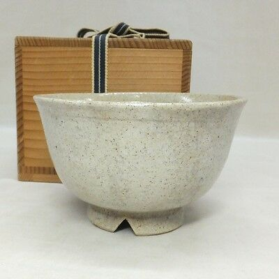 B404: Korean Joseon Dynasty style pottery tea bowl of traditional KINKAI CHAWAN