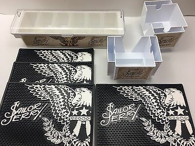 Sailor Jerry Spiced Rum Rubber Bar Spill Mat Tip Your Bartender Napkin Caddy Set