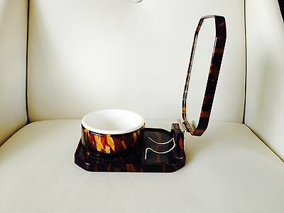 Mens shaving Kit Faux Tortoise Shell Bowl and Mirror in Fantastic Condition
