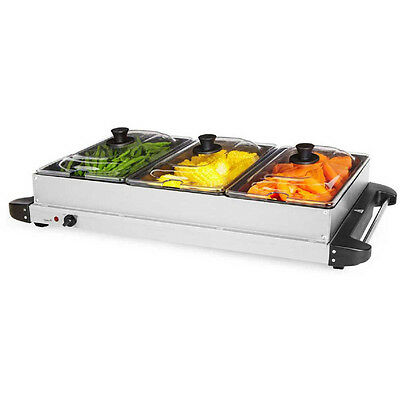 Contempo Buffet Warmer Stainless Steel Triple Hot Server Tray Food Display Party