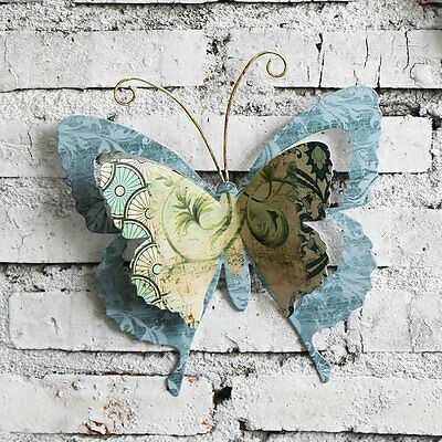 Decor Multi-color Metal Butterfly Garden Wall Art with Wings & Hanging Rope