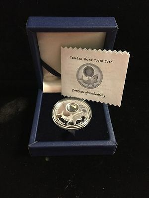 2014 Tokelau $5 Great White Shark Proof Like Coin w/Fossilized Tooth, Box & COA!