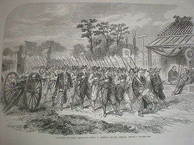 Japan Japanese soldiers Marching 1864 old print