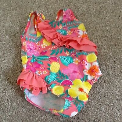 Girls pink fruit frill swimsuit 9-12 months from TU