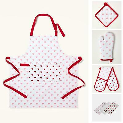 Cotton Pink And Red Hearts Kitchen Double Oven Gloves Apron Towel Pot Holder