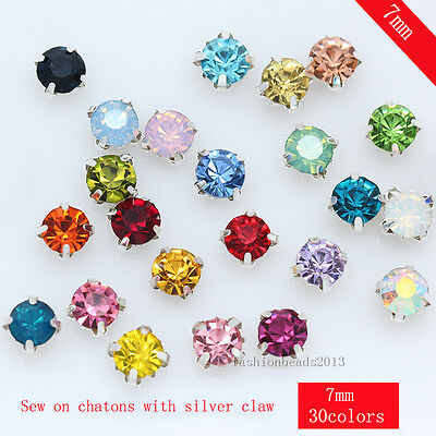 36p 7mm sew on faceted crystal glass rhinestone Montees jewelry making beads Gem