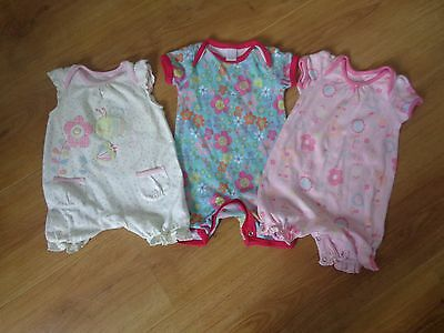 3 baby girls Outfits/romper suits 0-3