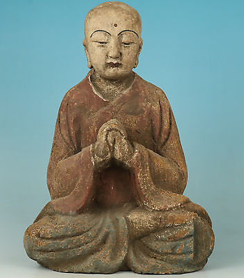 chinese Wood Hand Carved Buddha Monk Statue