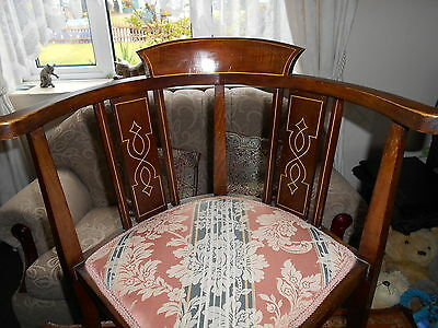"Edwardian Inlaid Corner Chair, Reupholstered, In Beautiful Condition, 18"" Across"