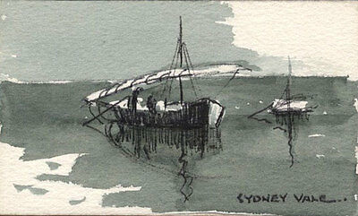 Sydney Vale FRSA - Mid 20th Century Pen and Ink Drawing, Moored Boats