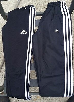 Two Pairs of Adidas Kids Track Pants Size S (8-10Y) Black