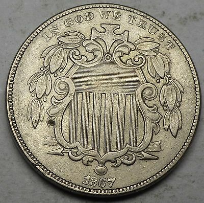 1867 With Rays Nickel XF