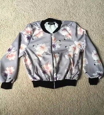Pretty Women's NEW LOOK Floral Bomber Jacket Petite Size 8