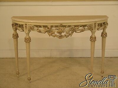 41644: Paint Decorated Gilt Wood Carved Marble Top Console Table